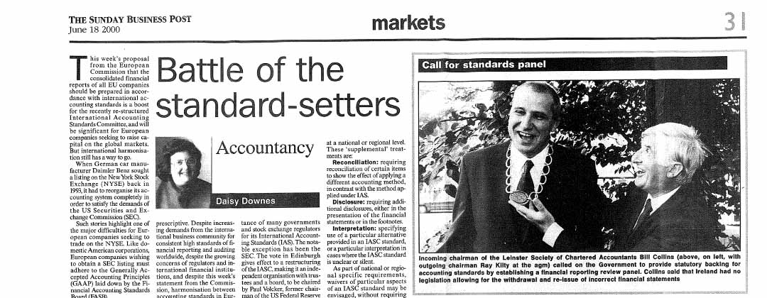 Battle of the Standard-setters   By Daisy Downes   Sunday Business Post